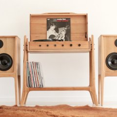 Gather around and listen to records on a sleek audio unit from Fort Kingsley